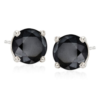 1.00 ct. t.w. Black Diamond Stud Earrings in 14kt White Gold