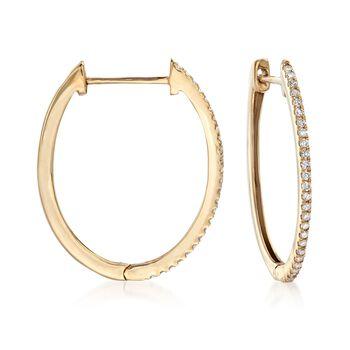 """.33 ct. t.w. Diamond Hoop Earrings in 14kt Yellow Gold. 7/8"""", , default"""