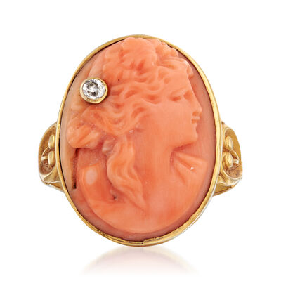 C. 1950 Vintage Carved Coral Cameo Ring in 10kt Yellow Gold with Diamond Accent
