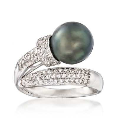 9-10mm Tahitian Pearl and .60 ct. t.w. White Topaz Bypass Ring in Sterling Silver