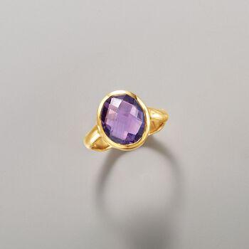 4.50 Carat Amethyst Ring in 18kt Gold Over Sterling, , default