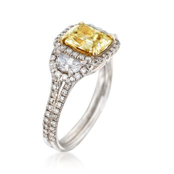 Majestic Collection 2.75 ct. t.w. Yellow and White Diamond Ring in 18kt White Gold, , default