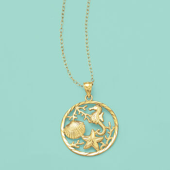 18kt Yellow Gold Over Sterling Silver Sea Life Pendant Necklace