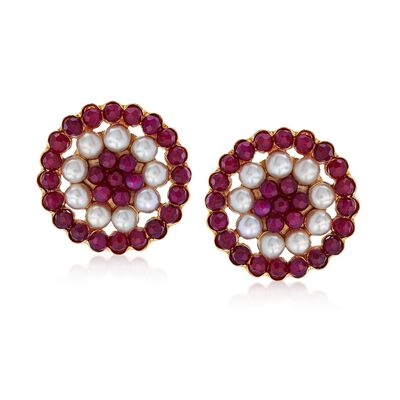 Italian 20.00 ct. t.w. Red Quartz and 6mm Cultured Pearl Earrings in 18kt Gold Over Sterling, , default