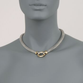 """Italian 18kt Bonded Gold and Sterling Silver Mesh Necklace. 17"""", , default"""