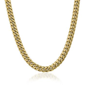 "Men's 9.3mm 14kt Yellow Gold Cuban-Link Chain Necklace. 22"", , default"