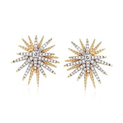 .60 ct. t.w. Diamond Starburst Earrings in 14kt Yellow Gold, , default