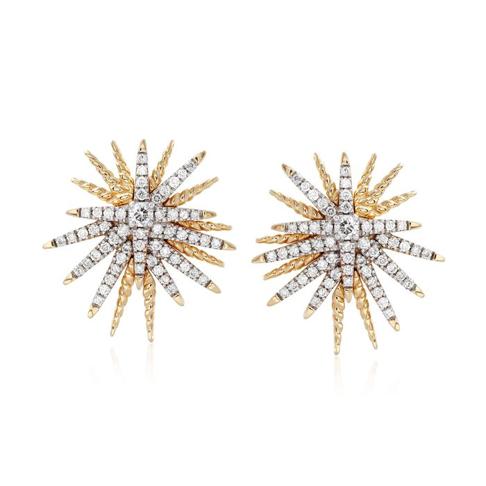 .60 ct. t.w. Diamond Starburst Earrings in 14kt Yellow Gold , , default