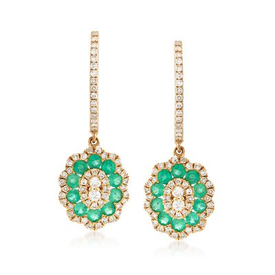 .40 ct. t.w. Emerald and .45 ct. t.w. Diamond Drop Earrings in 14kt Yellow Gold , , default