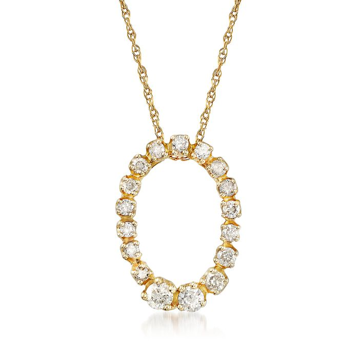 .25 ct. t.w. Diamond Open-Space Oval Pendant Necklace in 14kt Yellow Gold, , default