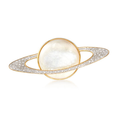 20mm Mother-Of-Pearl and .20 ct. t.w. Diamond Planet Pin in 18kt Yellow Gold Over Sterling Silver, , default