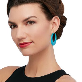"""Large Turquoise Hoop Earrings in 14kt Yellow Gold. 1 7/8"""", , default"""