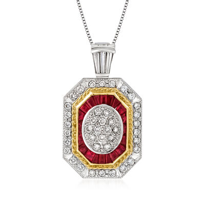 C. 1990 Vintage 1.54 ct. t.w. Diamond and 1.09 ct. t.w. Ruby Pendant Necklace in Platinum and 18kt Yellow Gold