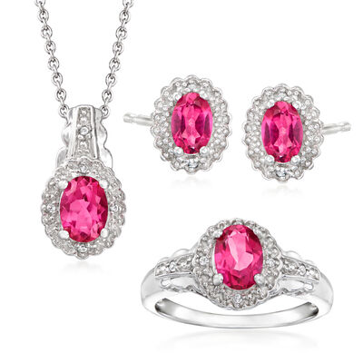2.55 ct. t.w. Pink Topaz and White Topaz Accents Jewelry Set: Necklace, Earrings and Ring in Sterling Silver