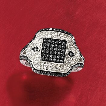.75 ct. t.w. Black and White Diamond Ring in Sterling Silver, , default