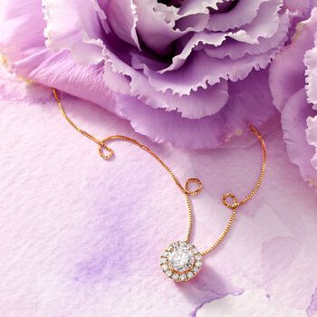 """1.00 ct. t.w. Diamond Halo Pendant Necklace in 14kt Yellow Gold. 18"""", , default"""