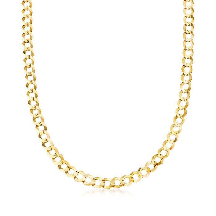 """Men's 8.2mm 14kt Yellow Gold Faceted Curb-Link Chain Necklace. 20"""""""