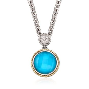 "Andrea Candela Turquoise Doublet Pendant Necklace in Sterling Silver and 18kt Gold. 16"", , default"