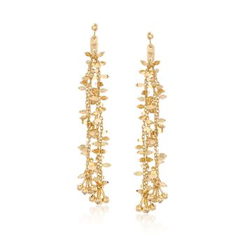 14kt Yellow Gold Chain and Bead Drop Earrings. , , default