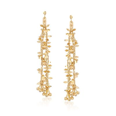 14kt Yellow Gold Chain and Bead Drop Earrings, , default