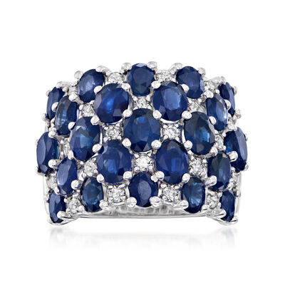 C. 1990 Vintage 8.50 ct. t.w. Sapphire and .65 ct. t.w. Diamond Checkerboard Ring in 14kt White Gold