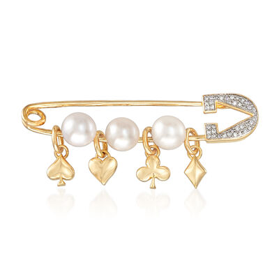 6-6.5mm Cultured Pearl and .10 ct. t.w. Diamond Charm Safety Pin in 18kt Gold Over Sterling, , default