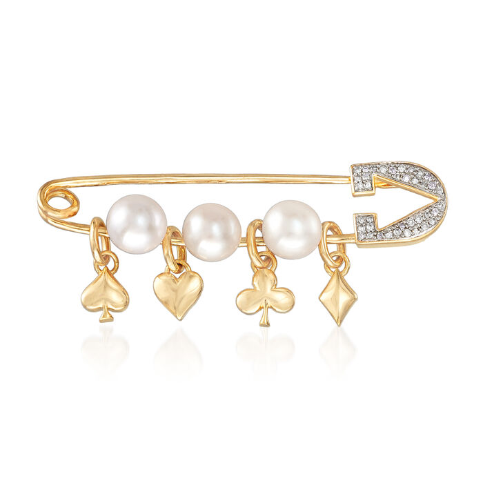 6-6.5mm Cultured Pearl and .10 ct. t.w. Diamond Charm Safety Pin in 18kt Gold Over Sterling
