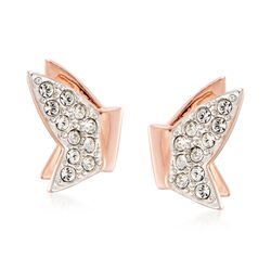 "Swarovski Crystal ""Lilia"" Clear Crystal Butterfly Earrings in Rose Gold Plate, , default"