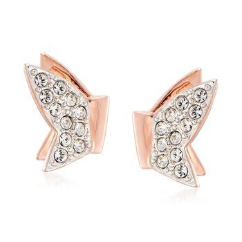 "Swarovski Crystal ""Lilia"" Clear Crystal Butterfly Earrings in Rose Gold Plate , , default"