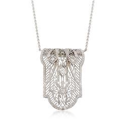"C. 1950 Vintage .12 ct. t.w. Diamond Floral Filigree Shield Necklace in 14kt White Gold. 16"", , default"