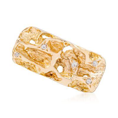 C. 1990 Vintage .12 ct. t.w. Diamond 14kt Yellow Gold Nugget Tie-Tack, , default