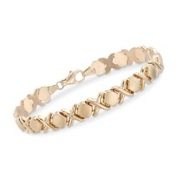 "14kt Yellow Gold XO Bracelet. 7.5"", , default"