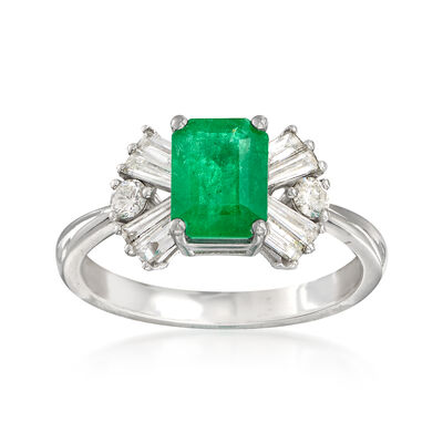 1.20 Carat Emerald and .49 ct. t.w. Diamond Ring in 14kt White Gold, , default