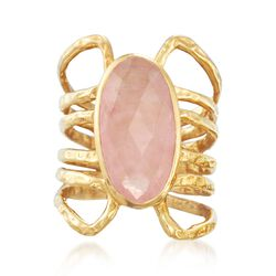 6.00 Carat Rose Quartz Open Space Ring in 18kt Gold Over Sterling, , default