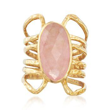 6.00 Carat Rose Quartz Open Space Ring in 18kt Gold Over Sterling, , default