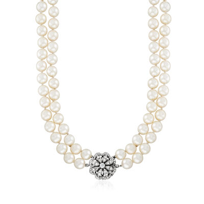 C. 1970 Vintage 8.5mm Cultured Pearl and .90 ct. t.w. Diamond Necklace in 14kt White Gold, , default