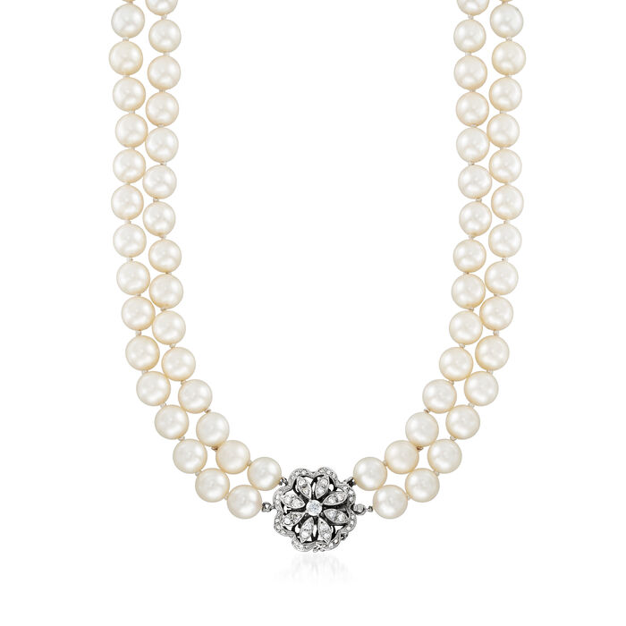 """C. 1970 Vintage 8.5mm Cultured Pearl and .90 ct. t.w. Diamond Necklace in 14kt White Gold. 18.5"""", , default"""