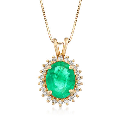 1.70 Carat Emerald and .20 ct. t.w. Diamond Pendant Necklace in 14kt Yellow Gold, , default