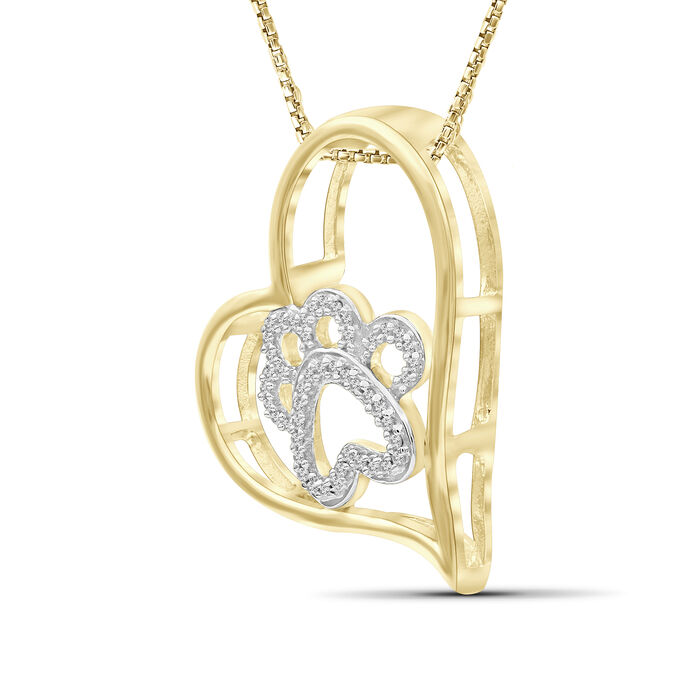 .15 ct. t.w. Diamond Paw Print and Heart Pendant Necklace in 18kt Yellow Gold Over Sterling Silver