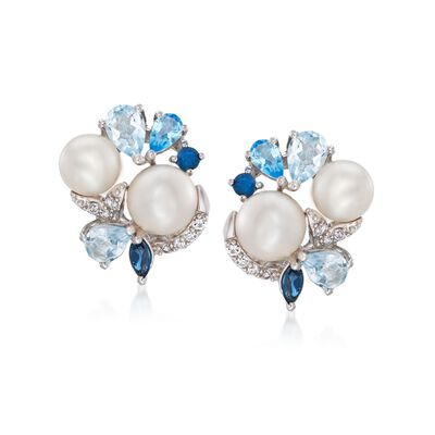 6.5-8mm Cultured Pearl and 3.20 ct. t.w. Multi-Stone Cluster Earrings in Sterling Silver