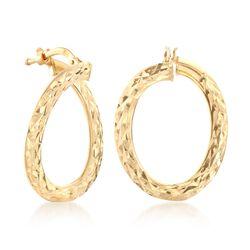 """Italian 14kt Yellow Gold Twisted Hoop Earrings. 7/8""""., , default"""
