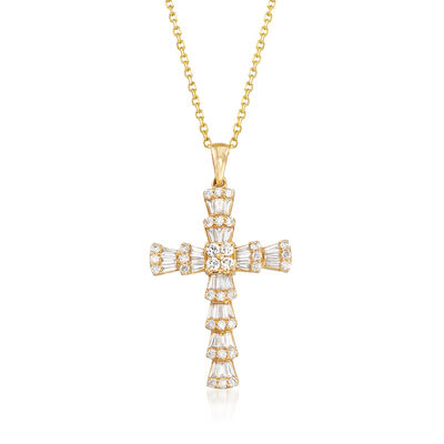 .97 ct. t.w. Round and Baguette Diamond Cross Necklace in 14kt Yellow Gold