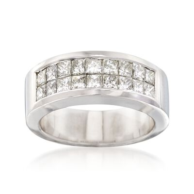 C. 1990 Vintage 1.50 ct. t.w. Prncess-Cut Diamond Wedding Ring in 18kt White Gold, , default