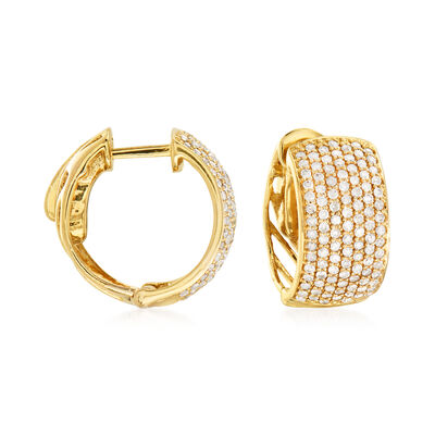 1.00 ct. t.w. Pave Diamond Hoop Earrings in 14kt Yellow Gold