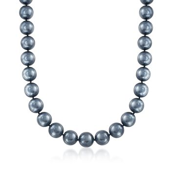 14mm Black Shell Pearl Necklace With Sterling Silver, , default