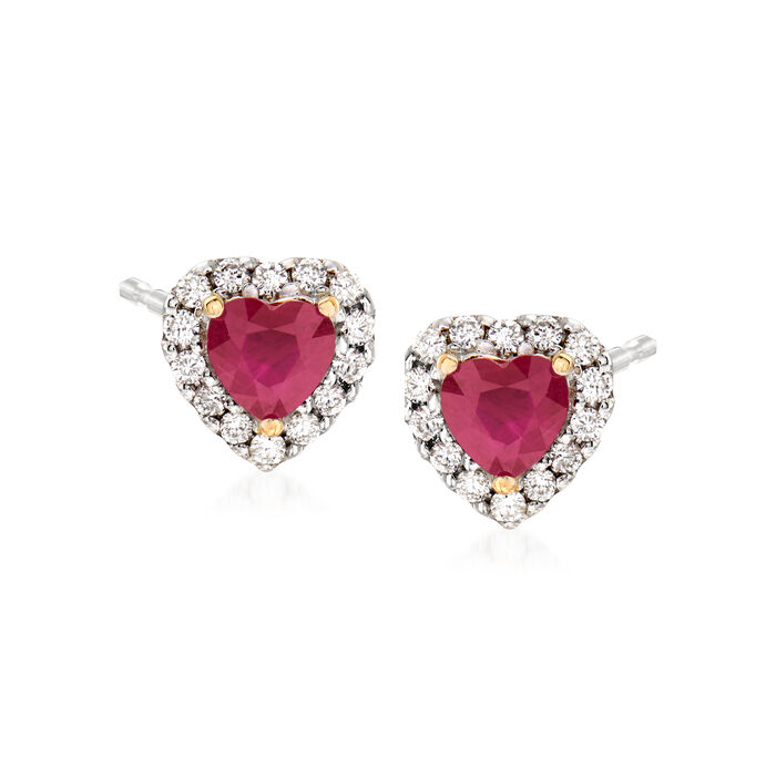 1.10 ct. t.w. Ruby and .28 ct. t.w. Diamond Heart Earrings in 14kt Two-Tone Gold