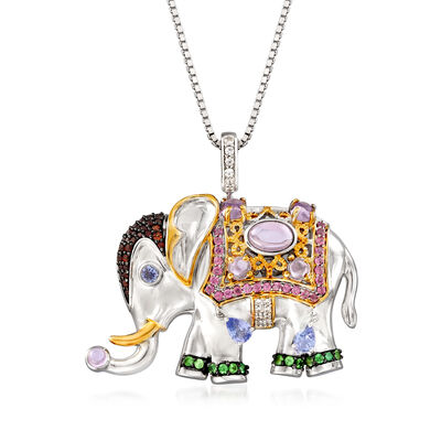3.40 ct. t.w. Multi-Gemstone Elephant Pendant Necklace in Two-Tone Sterling Silver