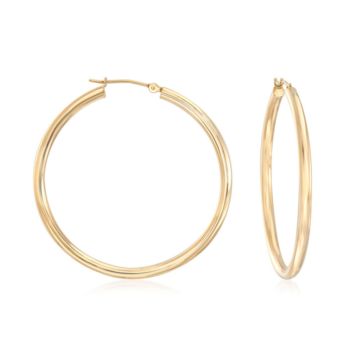 "2.5mm 14kt Yellow Gold Hoop Earrings. 1 1/2"", , default"