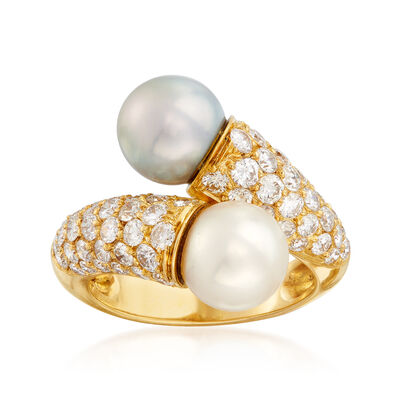 C. 1980 Vintage Van Cleef 8mm White and Black Cultured Pearl and 1.62 ct. t.w. Diamond Bypass Ring in 18kt Yellow Gold, , default