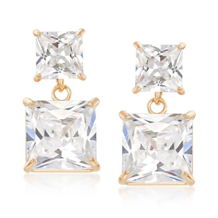 3.30 ct. t.w. Princess-Cut CZ Drop Earrings in 14kt Yellow Gold, , default